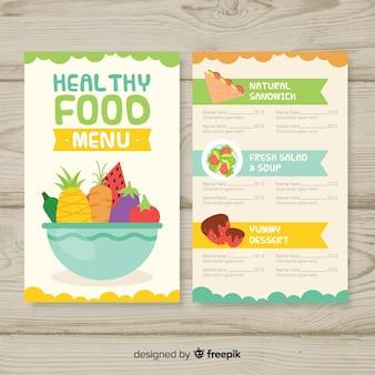 Modelo de menu saudável plana