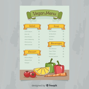 Modelo de menu saudável vegan