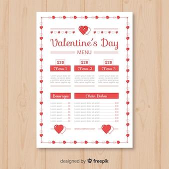 Modelo de menu simples dos namorados