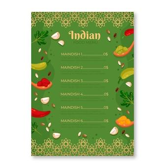 Modelo de menu tradicional indiano