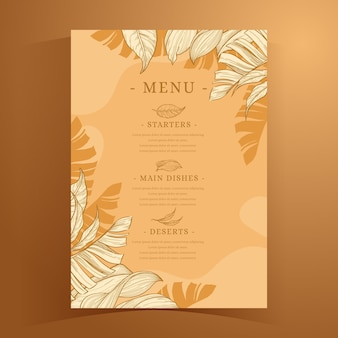 Modelo de menu tropical