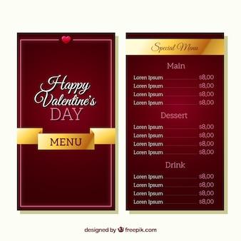 Modelo de menu valentine vermelho escuro
