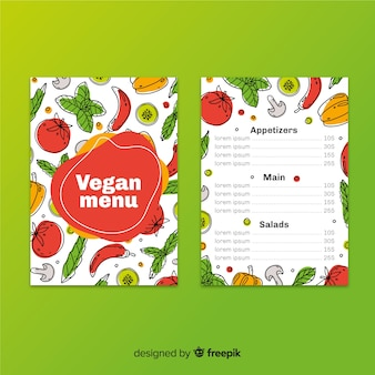 Modelo de menu vegan