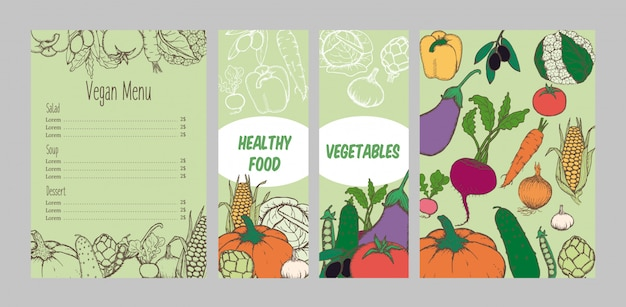 Modelo de menu vegetariano colorido