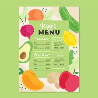 Modelo de menu vegetariano desenhado à mão