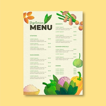 Modelo de menu vegetariano em estilo aquarela