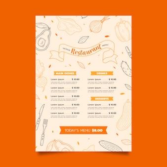 Modelo de menu vegetariano