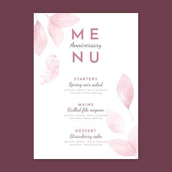 Modelo de menu vertical de aniversário de casamento