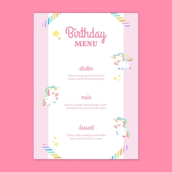 Modelo de menu vertical de aniversário infantil unicórnio