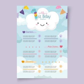Modelo de menu vertical de aniversário infantil