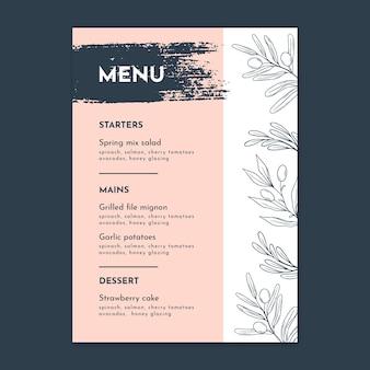 Modelo de menu vertical de casamento floral