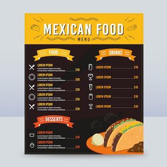 Modelo de menu vertical de comida mexicana