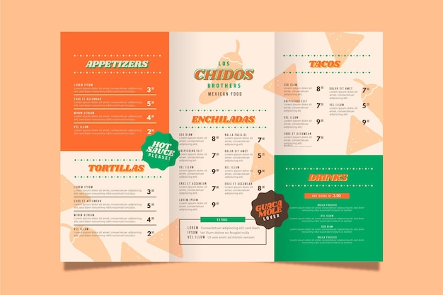Modelo de menu vertical de restaurante de comida mexicana