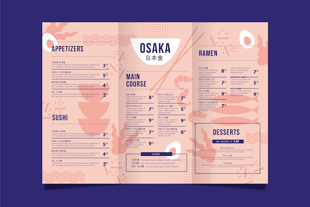 Modelo de menu vertical de restaurante japonês