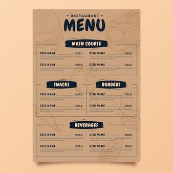 Modelo de menu vertical de restaurante rústico desenhado à mão