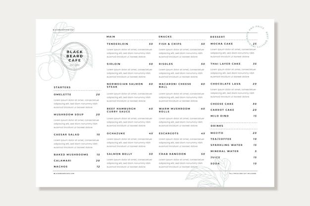Modelo de menu vertical de restaurante rústico plano orgânico