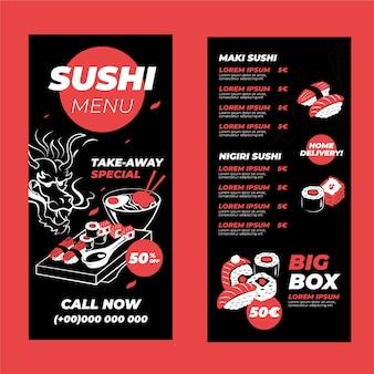 Modelo de menu vertical de sushi