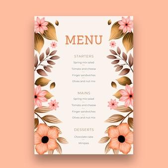Modelo de menu vertical do vigésimo quinto aniversário de casamento