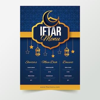 Modelo de menu vertical iftar desenhado à mão