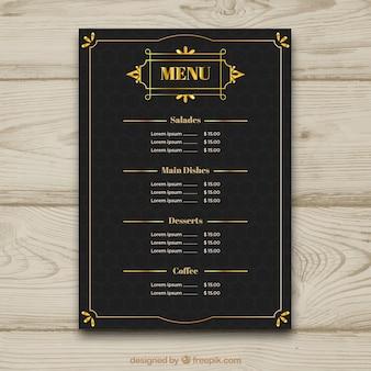 Modelo de menu vintage com moldura dourada