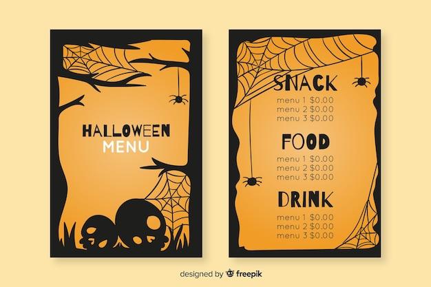 Modelo de menu vintage de halloween de mão desenhada