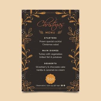 Modelo de menu vintage de natal