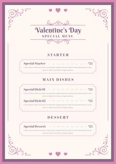 Modelo de menu vintage para dia dos namorados