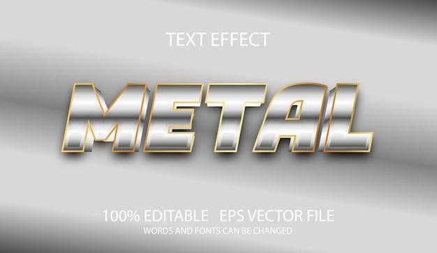 Modelo de metal prata com efeito de texto editável