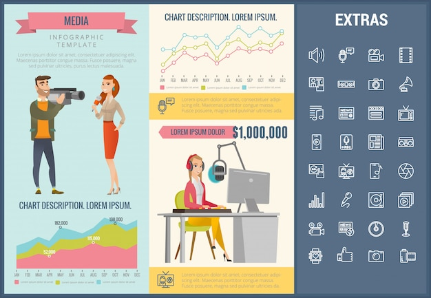 Modelo de mídia infográfico, elementos e ícones