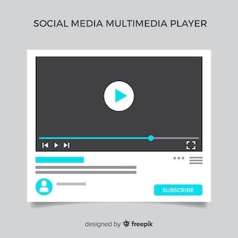 Modelo de mídia multimídia plana social media