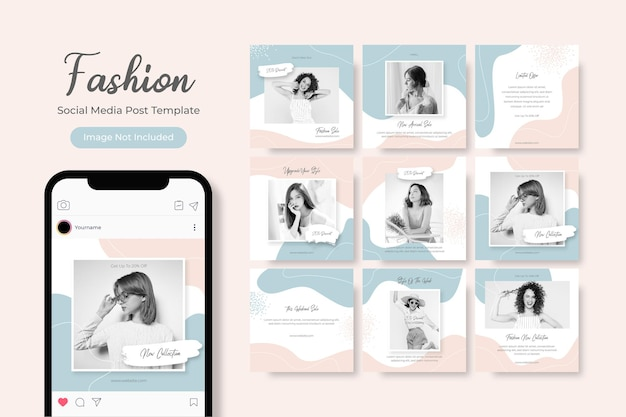 Modelo de mídia social banner promoção de venda de moda totalmente editável instagram quadrado post frame
