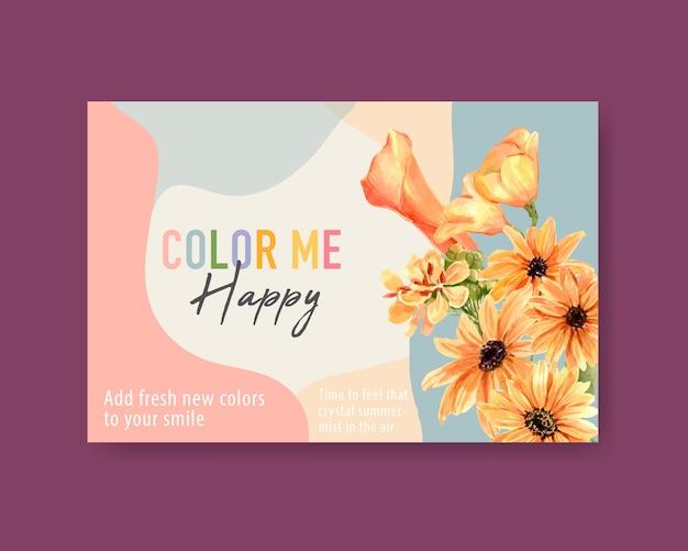 Modelo de mídia social com aquarela de design de conceito de flor de verão