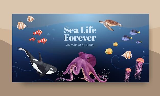 Modelo de mídia social com ilustração em aquarela de design de conceito de vida marinha