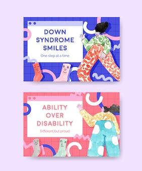 Modelo de mídia social com ilustração em aquarela de design de conceito do dia mundial de síndrome de down