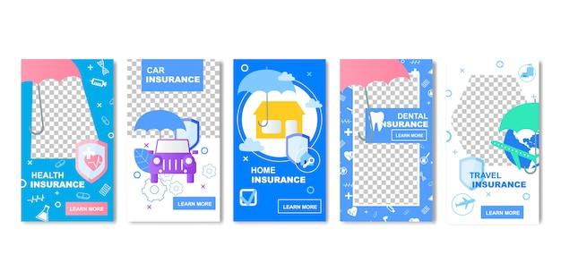 Modelo de mídia social de banner de seguro de viagem de carro de saúde em casa