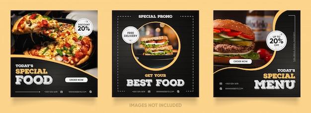 Modelo de mídia social de banner de venda de pizza