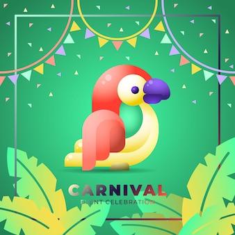 Modelo de mídia social de carnaval. com mascote de arara