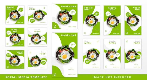 Modelo de mídia social de comida saudável