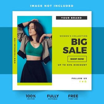 Modelo de mídia social de desconto de grande venda
