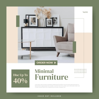 Modelo de mídia social de design de interiores de móveis minimalistas