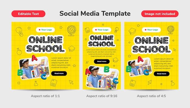 Modelo de mídia social de escola online com ilustração 3d. tutoriais e cursos na internet digital, educação online. efeito de texto editável.