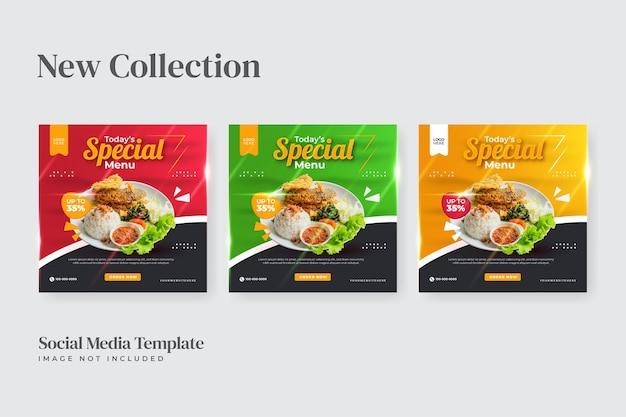 Modelo de mídia social de folheto de menu especial