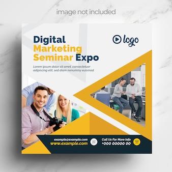 Modelo de mídia social de marketing digital com layout laranja