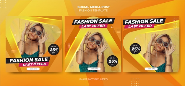 Modelo de mídia social de moda amarela