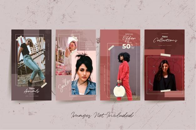 Modelo de mídia social de mulher moda com fundo aquarela abstrato