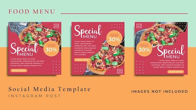 Modelo de mídia social de pizza food para postagem no instagram