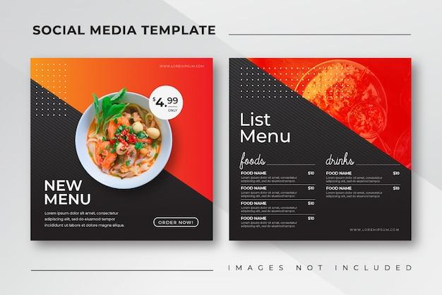 Modelo de mídia social de postagem de instagram de alimentos para menu de restaurante de culinária