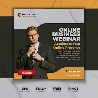 Modelo de mídia social de webinar de negócios online