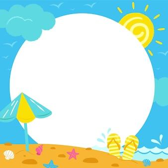 Modelo de mídia social desenhado à mão para moldura de verão