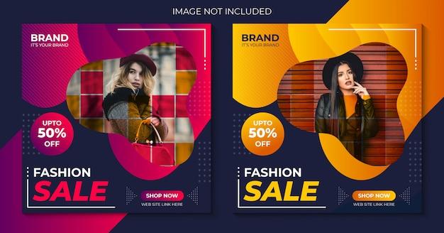 Modelo de mídia social do instagram de venda de moda